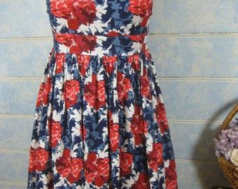 Ladies vintage inspired dress, rockabilly dress, floral dress,