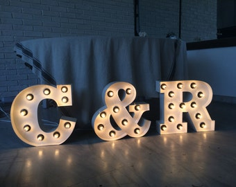 Light Up Letters Initials Large Marquee Wedding Sign Home Decor Sign