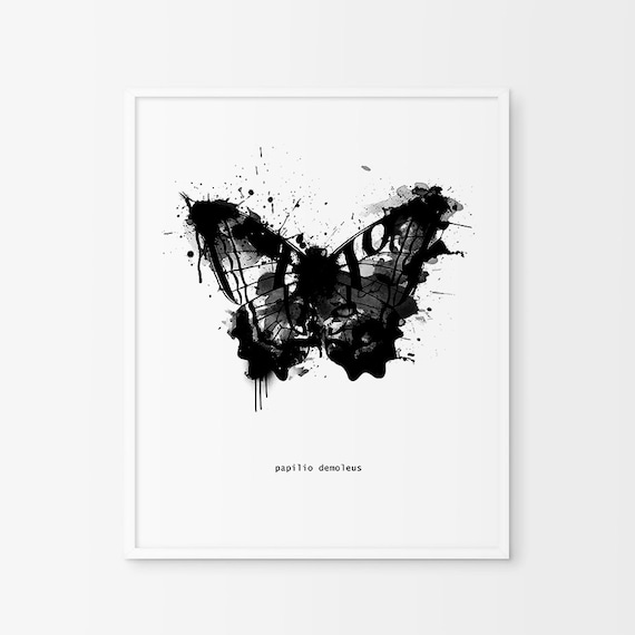 Black and White Abstract Butterfly Wall Art by ...