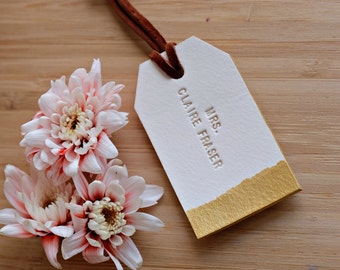 Personalized Leather Luggage Tag in White and Soft Gold, Handstamped with Name, Address or Quotes, Custom Wedding Gift, Anniversary Gift