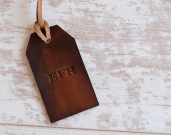 Initial Luggage Tag - Custom Luggage Tag Gift - Rustic Initial Bag Tag - Custom Leather Luggage Tag - Gift For Mens - Gift For Husbad