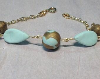 Modern chic mint and gold bracelet
