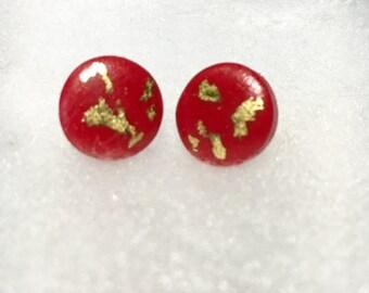 Valentines Earrings, Clay Stud Earrings, Holiday Earrings, Red Stud Earrings, Red and Gold Earrings