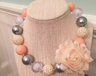 Peach, silver and Ivory child sized chunky necklace