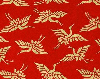 Handmade origami paper - Golden cranes on red