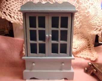 Miniature Kitchen Hutch, 1:12 scale, Shabby Chic Teal, Miniature Dollhouse Cabinet