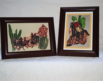 "Stagecoach & Masked Rider ""Wild West"" Set Fabric Framed Wall Art Decor"
