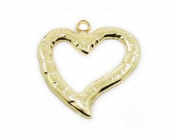 Gold Color Heart Pendant, Metal Heart Pendant, Large Heart Pendant, Metal Heart, Craft Supplies, Metal Pendant, Jewelry Making