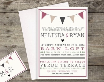 Rustic Pink and Grey Wedding Invitation // RSVP Postcard Save the Date // 5 x 7 Invitation // Customizable // Printable