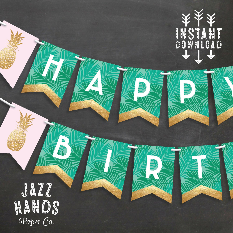 Tropical Happy Birthday Banner DIY Printable Pineapple