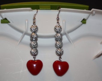 Beaded Rose & Red Heart Earrings