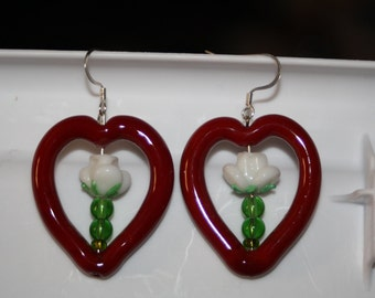 Dark Red Glass Heart Earrings With Rose Stems
