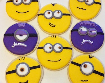 Minion decorated sugar cookies