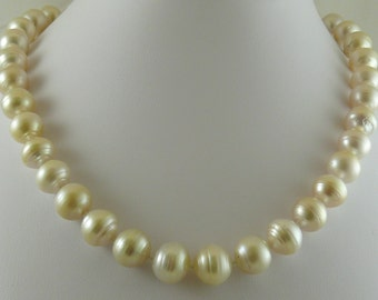 South Sea White Baroque Pearl Necklace 13.4x12.3mm with 14k Yellow Gold Clasp