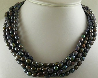 """Freshwater 5.3 -6.3mm Black Pearl Necklace Five Strands with Silver Lock 18"""""""