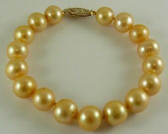 "Freshwater Golden 9.6 mm -10.5 mm Pearl Bracelet 14k Yellow Gold Clasp 7 1/2"""