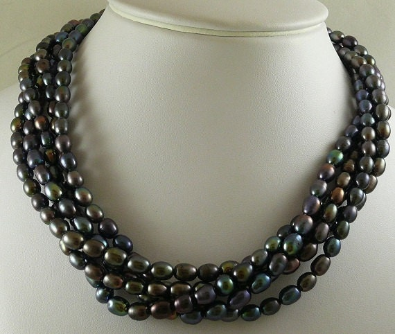 Freshwater 5.3 -6.3mm Black Pearl Necklace Five Strands with Silver Lock 18""