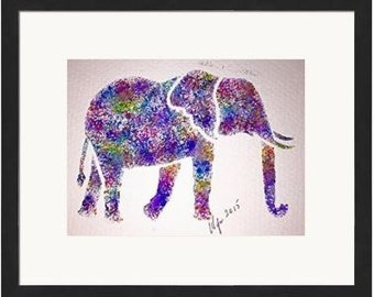 Hand Painted Vibrant Elephant 5X7