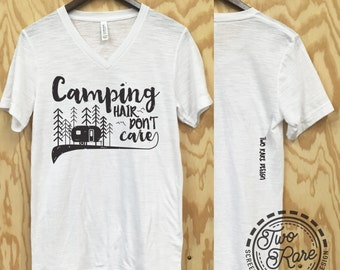 Camping hair don't care Tee Shirt - muscle tank - neon - camp - beach life - summer - womens clothing - unisex