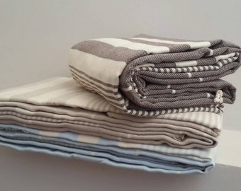 Stripe Blanket Queen Size  - Natural Fringed Bedding in Brown SkyBlue Cream  - Weaved Bedspread - Extra Big BedCover - Family Blanket