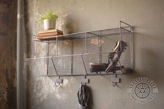 wire wall storage baskets with hooks by lesspectacles on etsy. Black Bedroom Furniture Sets. Home Design Ideas