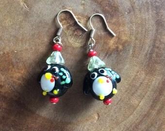 Christmas Earrings, Penguin Earrings, Holiday Earrings, Christmas Penguin Earrings, Penguin Jewelry, Theta Phi Alpha, Dangle Earrings