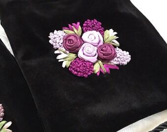 Black Velvet Pouch with Hand made Ribbon Work - Messenger Bag