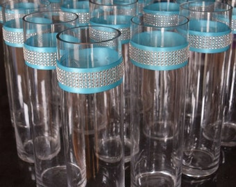 Set of 10 Rhinestone and Ribbon Wrap Glass Cylinder Vases: Wedding or Special Event
