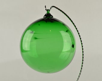 Hand Blown Glass Ornament Green w/strings of glass inside