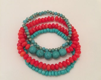 Coral & Turquoise beaded bracelet set