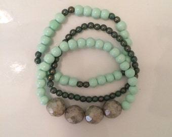 Green & Mint bracelet set