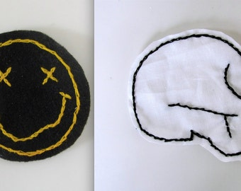 Nirvana or Skull Patch // Hand Embroidered