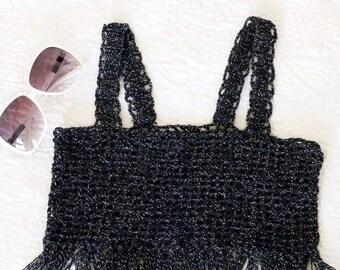 Fringe Black Crochet Top