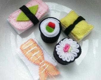 felt sushi and sashimi set. Hand made play food.