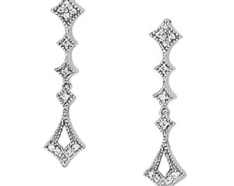 Diamond Earrings in 14k White gold, Drop Diamond Earrings in 14k White gold