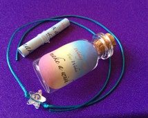 Swarovski crystal star wish/friendship bracelet, cute glass wish bottle, unique wish scroll, 'how to make a wish' message and an organza bag
