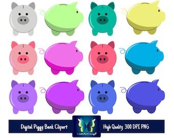 Piggy Bank Digital Clipart. Instant Download. Multiple Colors.