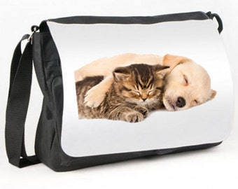 Cute KITTEN and PUPPY SLEEPING Messenger Bag