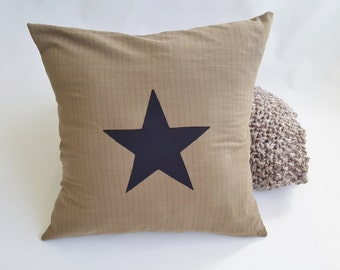 Star Pillow Cover - Taupe w/ Stripe