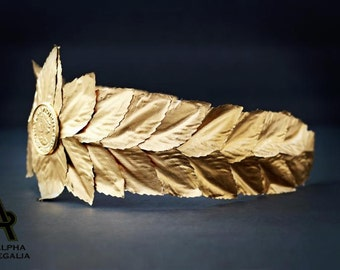 Caesar Crown, Roman Emperor Crown, Laurel Wreath Crown - Gold