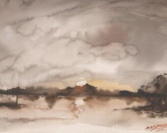 SUNSET 2 - original watercolor painting 12X9, landscape
