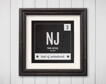 New Jersey Print - Periodic Table New Jersey Home Wall Art - Vintage New Jersey Décor - Black and White - State Art Poster,Baby Nursery Gift