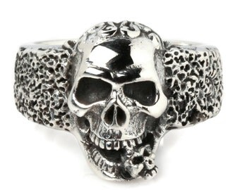 Art Tattoo Twin Skull Bite Baby Ghost Devil 925 Sterling Silver Ring Gothic Biker Jewelry