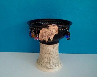ON SALE Earring Bowl, Earring Bowl on Pedestal, Jewelry Storage, Earring Storage, Jewelry Box, Bedroom Dresser, Hanging Earrings