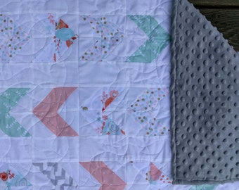 Handmade Baby Girl Quilt with Minky Fabric