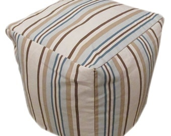 """Striped Coloured Bean Cube Foot Stool Seat Pouffe 45cm (18"""") Handmade Cover Only"""
