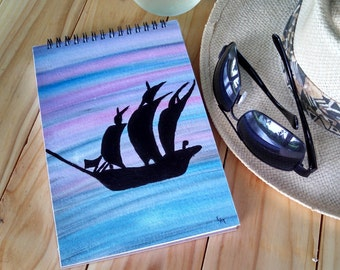 Hand Painted Spiral Journal; FREE SHIPPING; Blank Notebook; Wire Bound at Top; Writing Sketching; Pirate Ship Silhouette