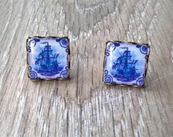 Portuguese antique tiles stud earrings, vintage style, Portuguese jewelry, azulejos, ship, Portuguese ship