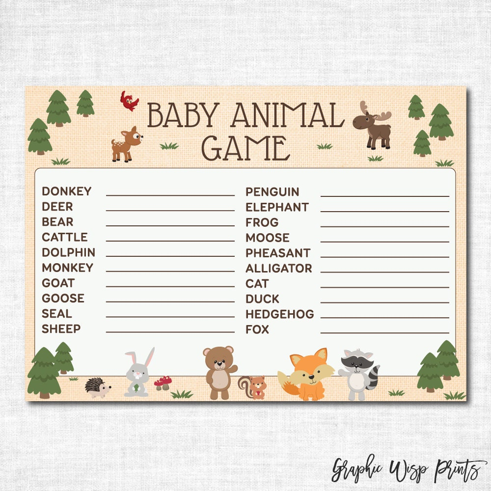baby animal name game baby shower printable woodland baby