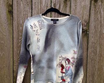 Asian Cashmere Sweater // Geisha Girl Womens Sweater // Grey Cashmere size L size M